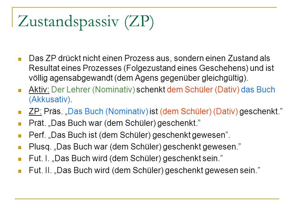 Zustandspassiv (ZP) Das ZP drückt nicht einen Prozess aus, sondern einen Zustand als Resultat eines Prozesses (Folgezustand eines Geschehens) und ist