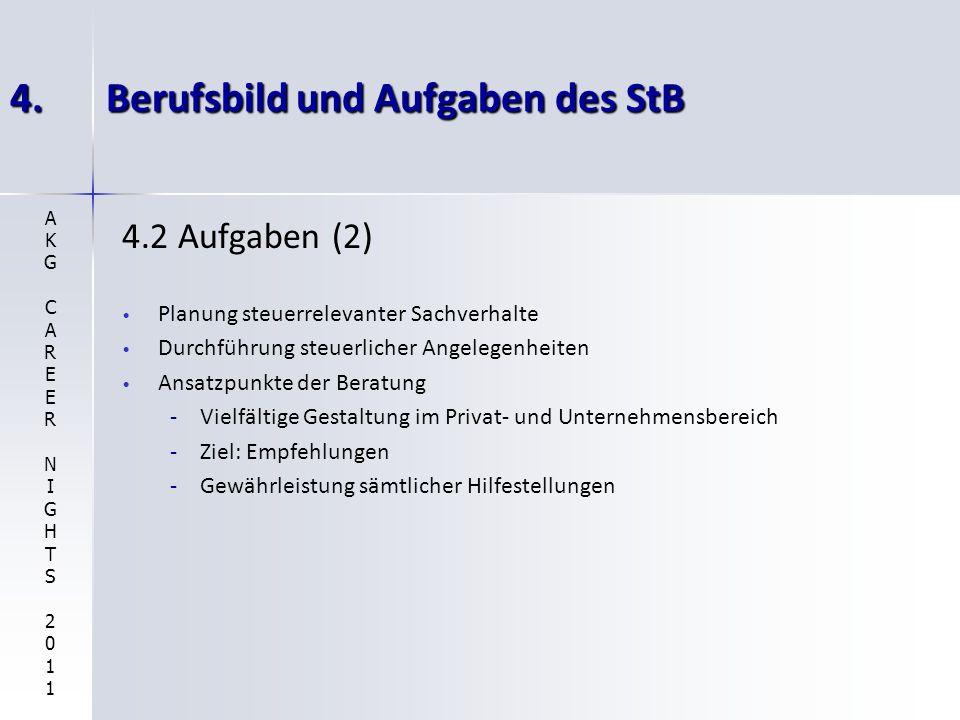4.Berufsbild und Aufgaben des StB 4.2 Aufgaben (2) Planung steuerrelevanter Sachverhalte Durchführung steuerlicher Angelegenheiten Ansatzpunkte der Be