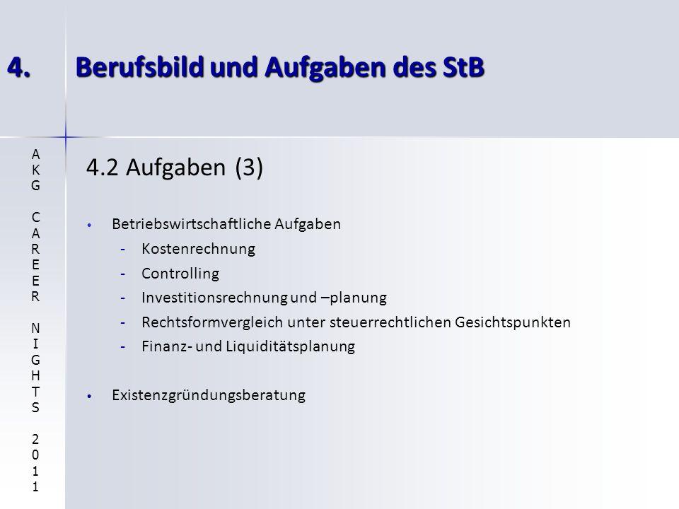 4.Berufsbild und Aufgaben des StB 4.2 Aufgaben (3) Betriebswirtschaftliche Aufgaben - -Kostenrechnung - -Controlling - -Investitionsrechnung und –plan