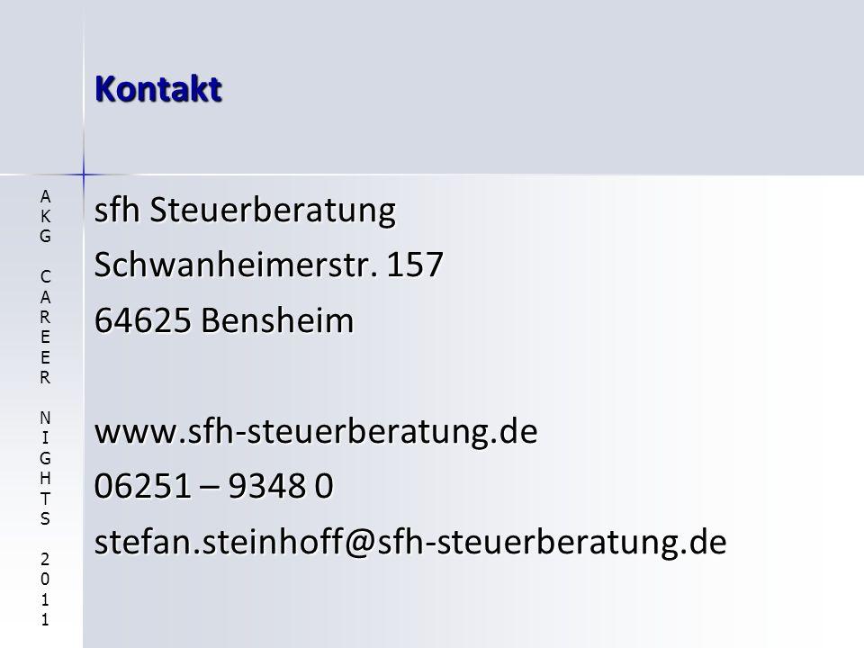 Kontakt sfh Steuerberatung Schwanheimerstr. 157 64625 Bensheim www.sfh-steuerberatung.de 06251 – 9348 0 stefan.steinhoff@sfh-steuerberatung.de AKGCARE