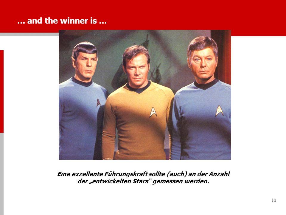 10 … and the winner is … Eine exzellente Führungskraft sollte (auch) an der Anzahl der entwickelten Stars gemessen werden.