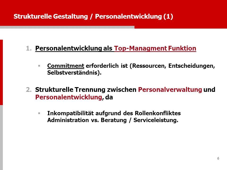 6 Strukturelle Gestaltung / Personalentwicklung (1) 1.Personalentwicklung als Top-Managment Funktion Commitment erforderlich ist (Ressourcen, Entschei