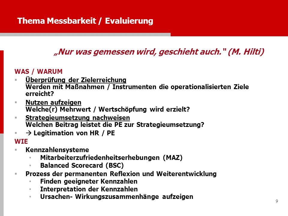 9 Thema Messbarkeit / Evaluierung Nur was gemessen wird, geschieht auch. (M. Hilti) WAS / WARUM Überprüfung der Zielerreichung Werden mit Maßnahmen /