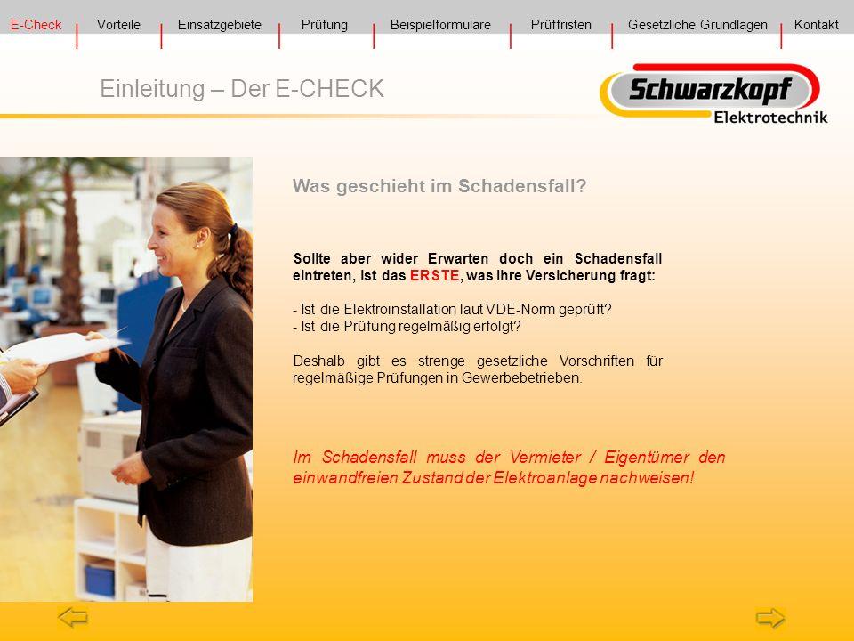 E-Check VorteilePrüfung Prüffristen Gesetzliche GrundlagenKontakt Einsatzgebiete Beispielformulare