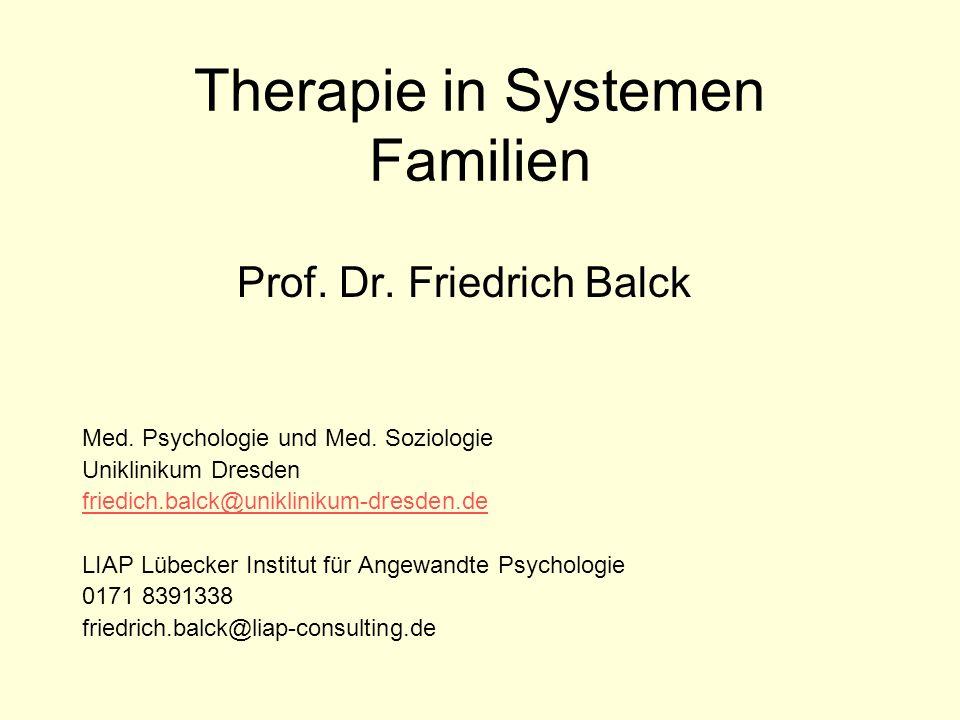 Therapie in Systemen Familien Prof. Dr. Friedrich Balck Med. Psychologie und Med. Soziologie Uniklinikum Dresden friedich.balck@uniklinikum-dresden.de