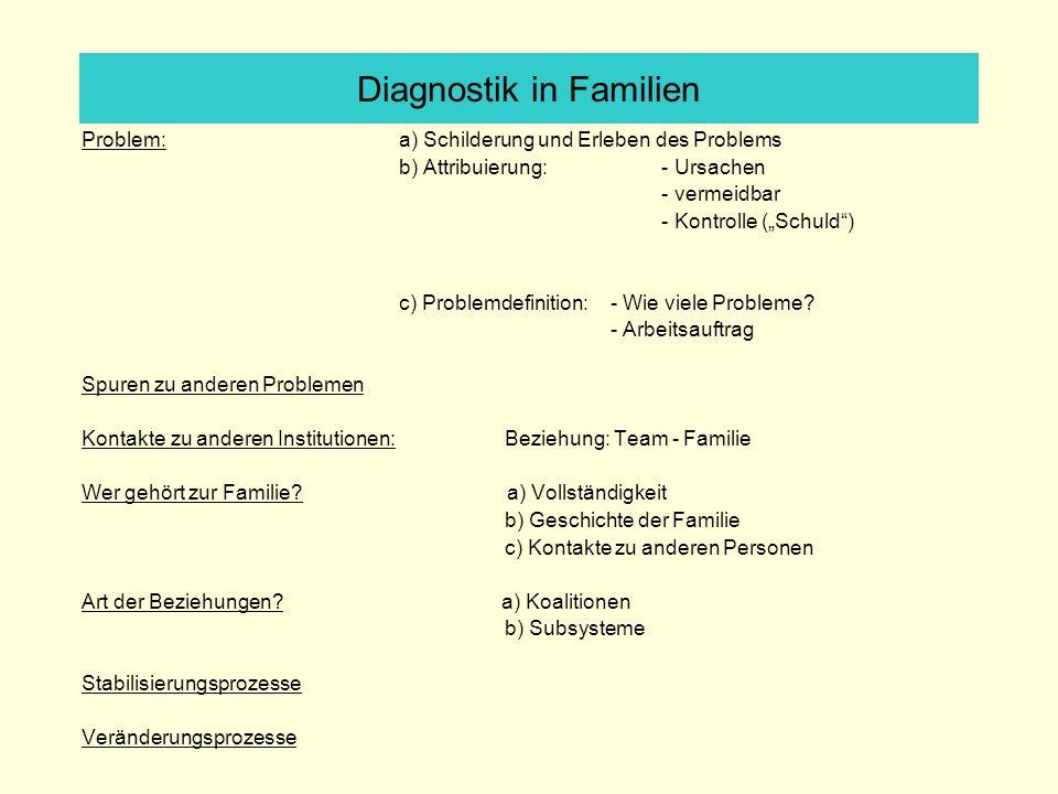 Problem: a) Schilderung und Erleben des Problems b) Attribuierung: - Ursachen - vermeidbar - Kontrolle (Schuld) c) Problemdefinition: - Wie viele Probleme.