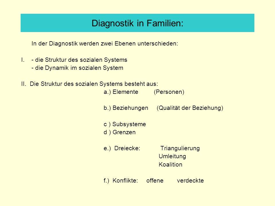 In der Diagnostik werden zwei Ebenen unterschieden: I.- die Struktur des sozialen Systems - die Dynamik im sozialen System II. Die Struktur des sozial