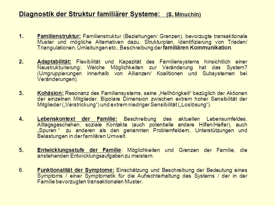 Diagnostik der Struktur familiärer Systeme: (S. Minuchin) 1.Familienstruktur: Familienstruktur (Beziehungen/ Grenzen), bevorzugte transaktionale Muste