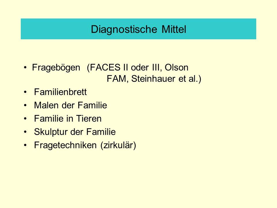 Diagnostische Mittel Fragebögen (FACES II oder III, Olson FAM, Steinhauer et al.) Familienbrett Malen der Familie Familie in Tieren Skulptur der Familie Fragetechniken (zirkulär)