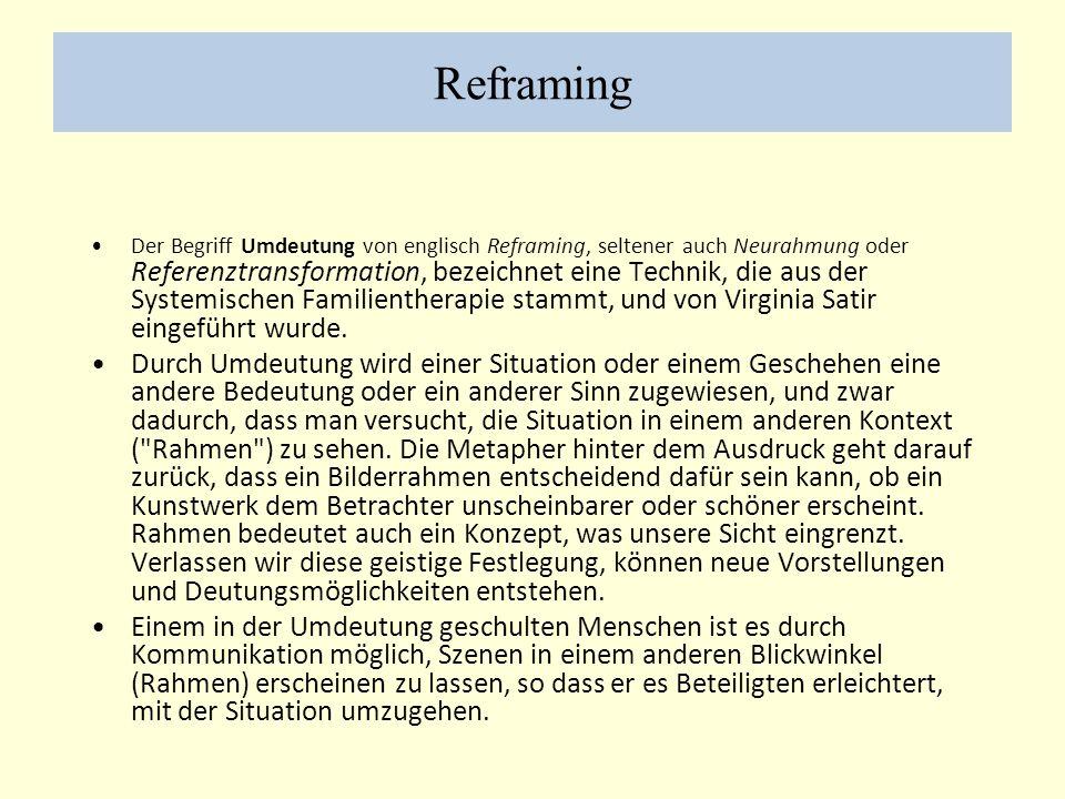Reframing Der Begriff Umdeutung von englisch Reframing, seltener auch Neurahmung oder Referenztransformation, bezeichnet eine Technik, die aus der Systemischen Familientherapie stammt, und von Virginia Satir eingeführt wurde.