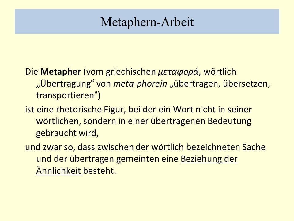 Metaphern-Arbeit Die Metapher (vom griechischen μεταφορά, wörtlich Übertragung von meta-phorein übertragen, übersetzen, transportieren) ist eine rhetorische Figur, bei der ein Wort nicht in seiner wörtlichen, sondern in einer übertragenen Bedeutung gebraucht wird, und zwar so, dass zwischen der wörtlich bezeichneten Sache und der übertragen gemeinten eine Beziehung der Ähnlichkeit besteht.