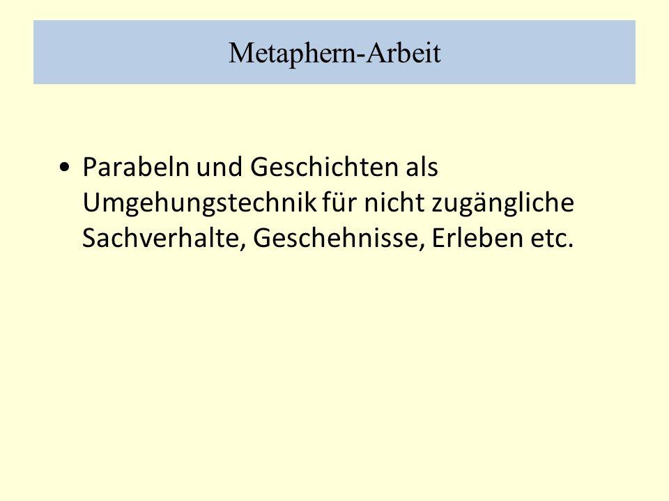Metaphern-Arbeit Parabeln und Geschichten als Umgehungstechnik für nicht zugängliche Sachverhalte, Geschehnisse, Erleben etc.