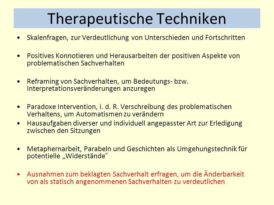 Therapeutische Techniken Skalenfragen, zur Verdeutlichung von Unterschieden und Fortschritten Positives Konnotieren und Herausarbeiten der positiven Aspekte von problematischen Sachverhalten Reframing von Sachverhalten, um Bedeutungs- bzw.