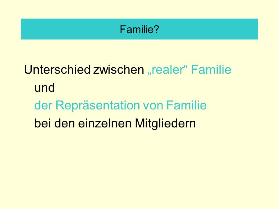 Familie? Unterschied zwischen realer Familie und der Repräsentation von Familie bei den einzelnen Mitgliedern
