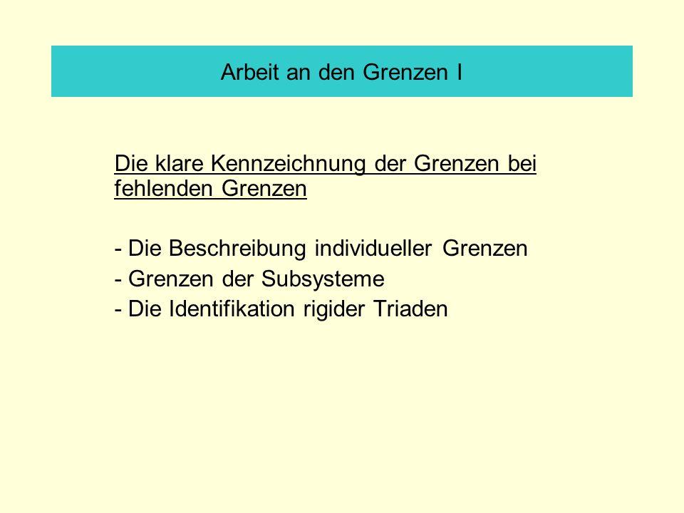 Arbeit an den Grenzen I Die klare Kennzeichnung der Grenzen bei fehlenden Grenzen - Die Beschreibung individueller Grenzen - Grenzen der Subsysteme - Die Identifikation rigider Triaden