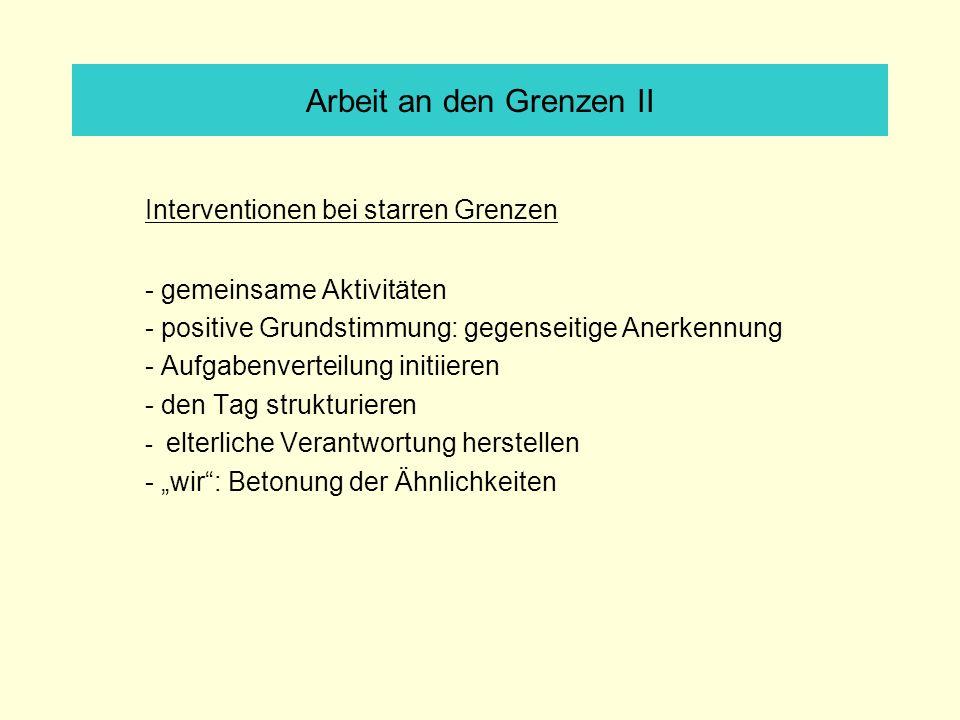 Arbeit an den Grenzen II Interventionen bei starren Grenzen - gemeinsame Aktivitäten - positive Grundstimmung: gegenseitige Anerkennung - Aufgabenvert