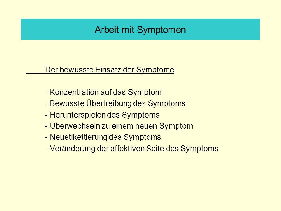 Arbeit mit Symptomen Der bewusste Einsatz der Symptome - Konzentration auf das Symptom - Bewusste Übertreibung des Symptoms - Herunterspielen des Symptoms - Überwechseln zu einem neuen Symptom - Neuetikettierung des Symptoms - Veränderung der affektiven Seite des Symptoms