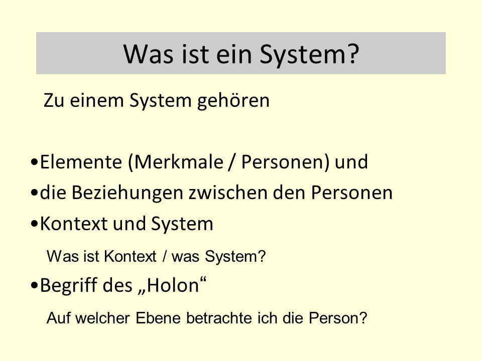 Was ist ein System? Zu einem System gehören Elemente (Merkmale / Personen) und die Beziehungen zwischen den Personen Kontext und System Was ist Kontex