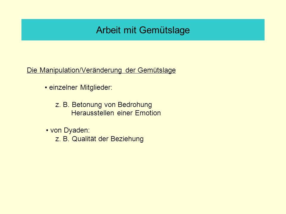 Arbeit mit Gemütslage Die Manipulation/Veränderung der Gemütslage einzelner Mitglieder: z.