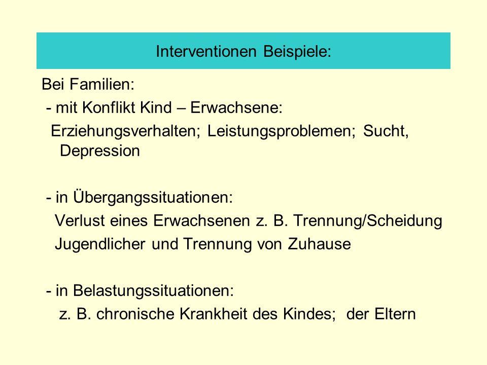 Interventionen Beispiele: Bei Familien: - mit Konflikt Kind – Erwachsene: Erziehungsverhalten; Leistungsproblemen; Sucht, Depression - in Übergangssituationen: Verlust eines Erwachsenen z.