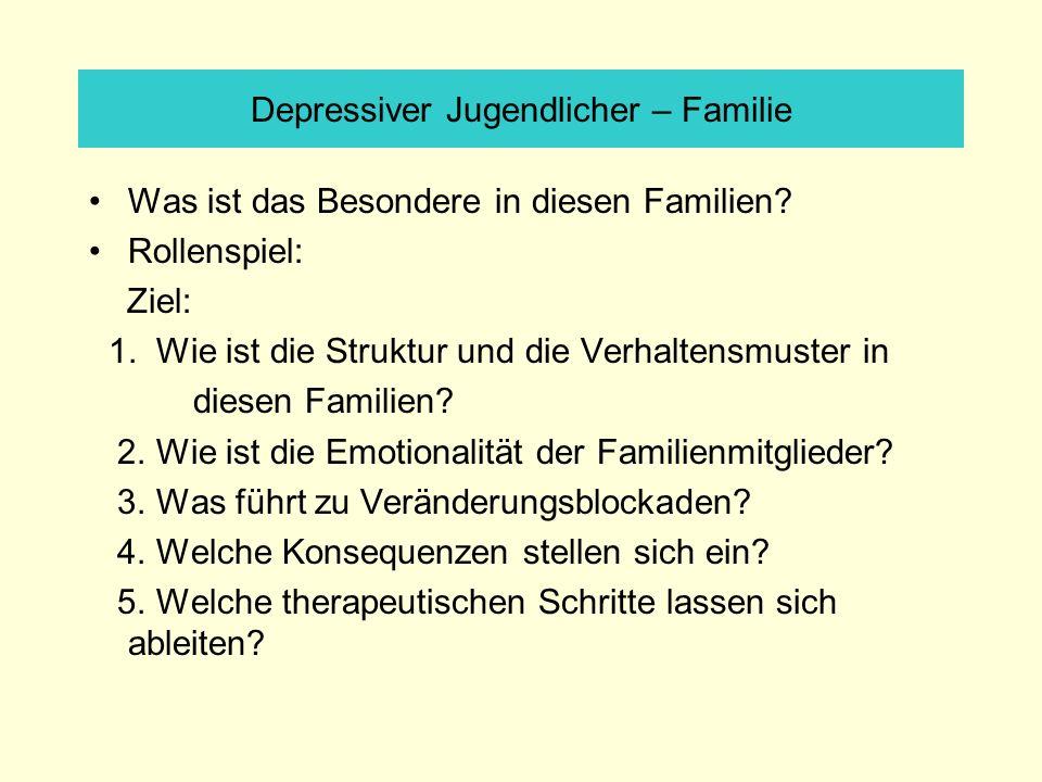 Depressiver Jugendlicher – Familie Was ist das Besondere in diesen Familien? Rollenspiel: Ziel: 1. Wie ist die Struktur und die Verhaltensmuster in di