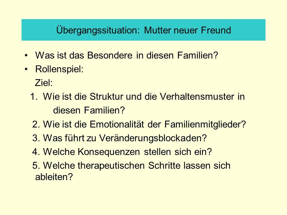 Übergangssituation: Mutter neuer Freund Was ist das Besondere in diesen Familien? Rollenspiel: Ziel: 1. Wie ist die Struktur und die Verhaltensmuster