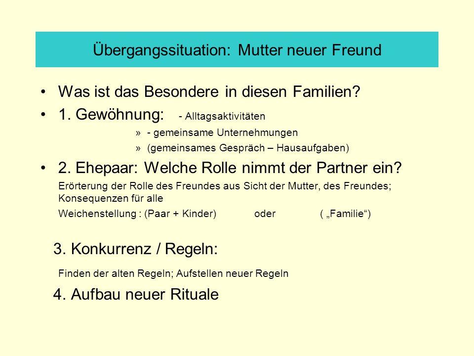 Übergangssituation: Mutter neuer Freund Was ist das Besondere in diesen Familien? 1. Gewöhnung: - Alltagsaktivitäten »- gemeinsame Unternehmungen »(ge