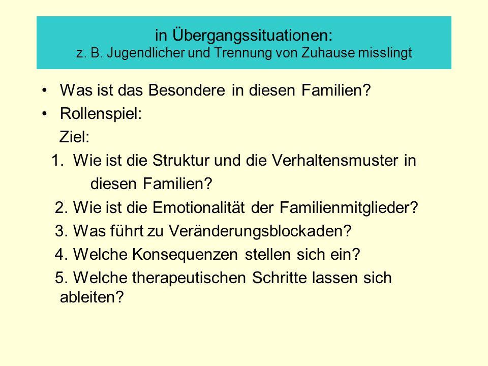 in Übergangssituationen: z. B. Jugendlicher und Trennung von Zuhause misslingt Was ist das Besondere in diesen Familien? Rollenspiel: Ziel: 1. Wie ist