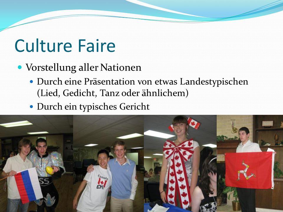 Culture Faire Vorstellung aller Nationen Durch eine Präsentation von etwas Landestypischen (Lied, Gedicht, Tanz oder ähnlichem) Durch ein typisches Ge