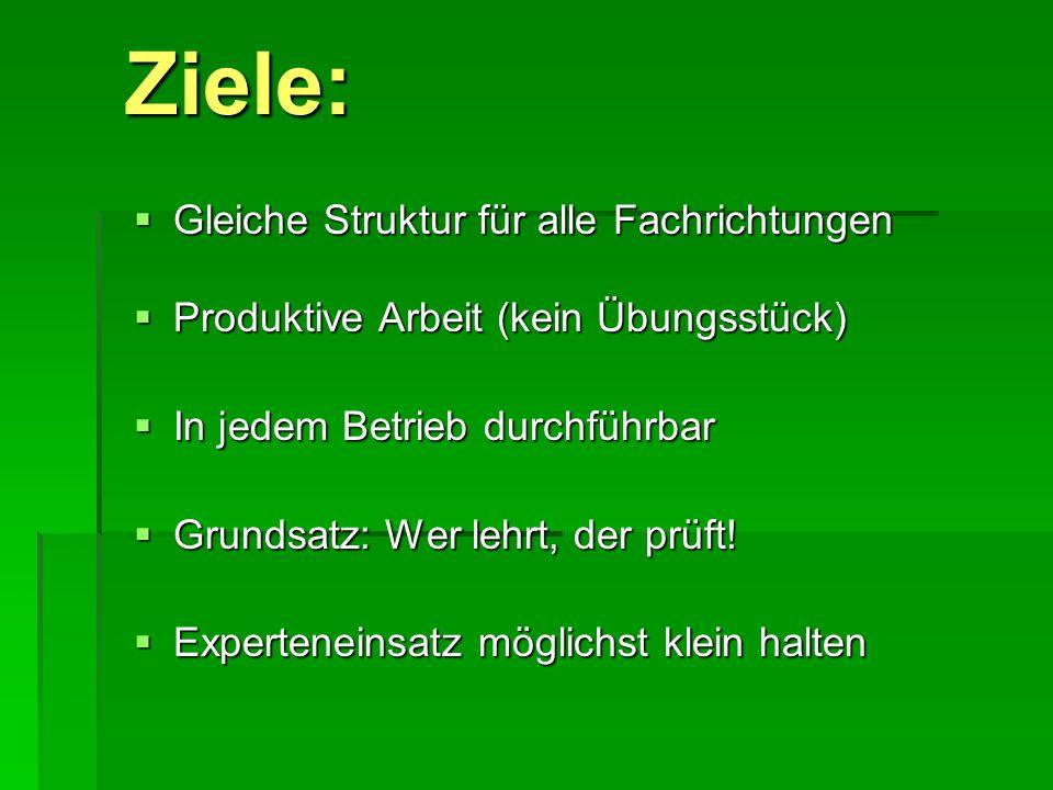 Ziele: Gleiche Gleiche Struktur für alle Fachrichtungen Produktive Produktive Arbeit (kein Übungsstück) In In jedem Betrieb durchführbar Grundsatz: Gr