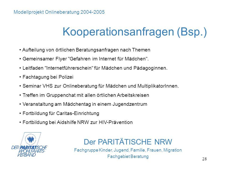 28 Der PARITÄTISCHE NRW Fachgruppe Kinder, Jugend, Familie, Frauen, Migration Fachgebiet Beratung Modellprojekt Onlineberatung 2004-2005 Kooperationsa