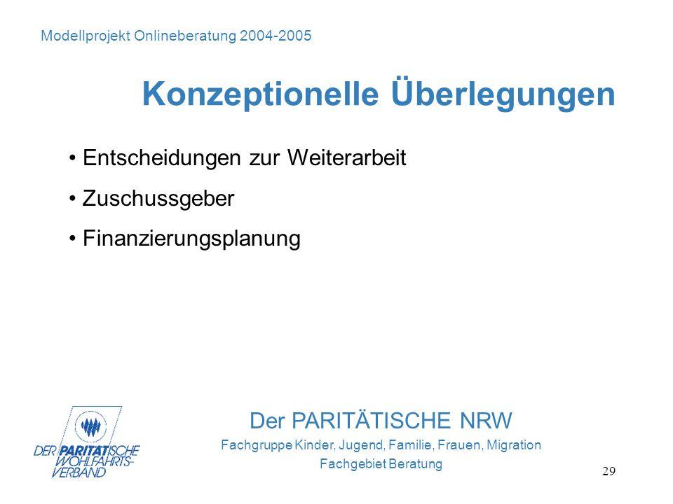 29 Der PARITÄTISCHE NRW Fachgruppe Kinder, Jugend, Familie, Frauen, Migration Fachgebiet Beratung Modellprojekt Onlineberatung 2004-2005 Konzeptionell