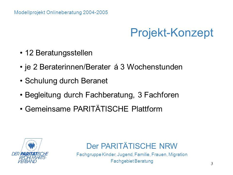 3 Der PARITÄTISCHE NRW Fachgruppe Kinder, Jugend, Familie, Frauen, Migration Fachgebiet Beratung Projekt-Konzept 12 Beratungsstellen je 2 Beraterinnen