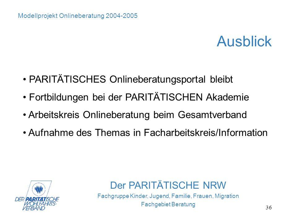 36 Modellprojekt Onlineberatung 2004-2005 Ausblick Der PARITÄTISCHE NRW Fachgruppe Kinder, Jugend, Familie, Frauen, Migration Fachgebiet Beratung PARI