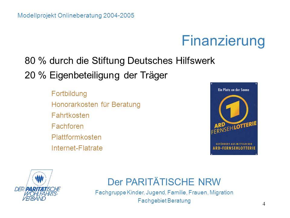 4 Der PARITÄTISCHE NRW Fachgruppe Kinder, Jugend, Familie, Frauen, Migration Fachgebiet Beratung Finanzierung 80 % durch die Stiftung Deutsches Hilfsw