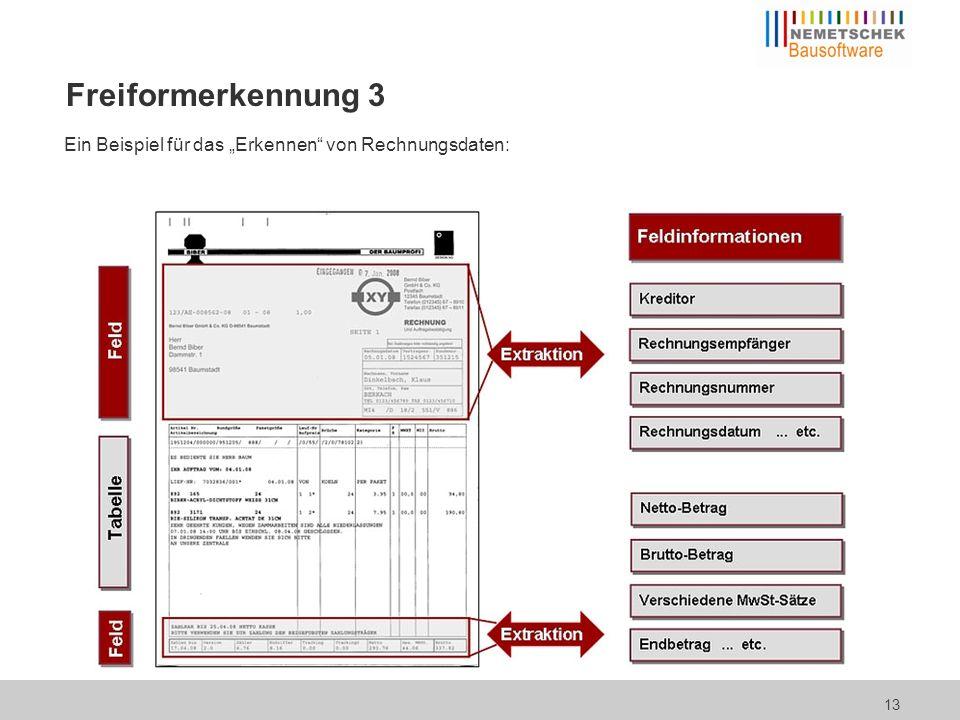 Ein Beispiel für das Erkennen von Rechnungsdaten: 13 Freiformerkennung 3