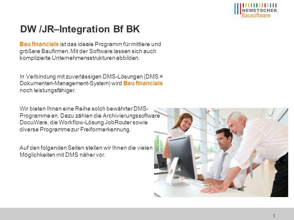 Integration in Bau financials DMS und Workflow lassen sich in den folgenden Bereichen in Bau financials integrieren.