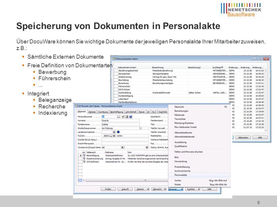 Sämtliche Dokumentarten Für ein- und ausgehende Belege Automatisch zeitgesteuert und/oder manuell Einfache Zuordnung von Feldwerten z.B.