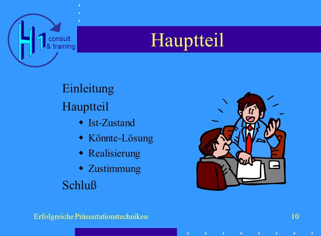 & training consult Erfolgreiche Präsentationstechniken10 Hauptteil Einleitung Hauptteil Ist-Zustand Könnte-Lösung Realisierung Zustimmung Schluß