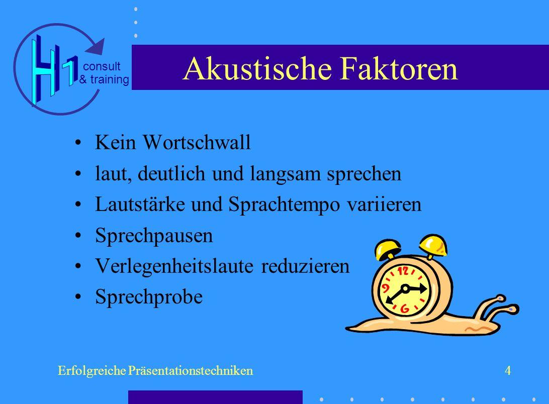 & training consult Erfolgreiche Präsentationstechniken4 Akustische Faktoren Kein Wortschwall laut, deutlich und langsam sprechen Lautstärke und Sprach