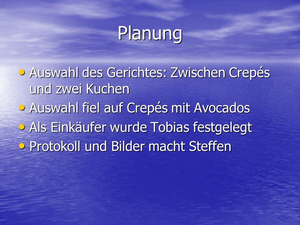 Planung Auswahl des Gerichtes: Zwischen Crepés und zwei Kuchen Auswahl des Gerichtes: Zwischen Crepés und zwei Kuchen Auswahl fiel auf Crepés mit Avoc