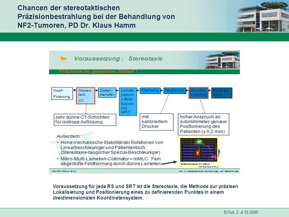 Erfurt, 2.-4.10.2009 Chancen der stereotaktischen Präzisionbestrahlung bei der Behandlung von NF2-Tumoren, PD Dr. Klaus Hamm Voraussetzung für jede RS