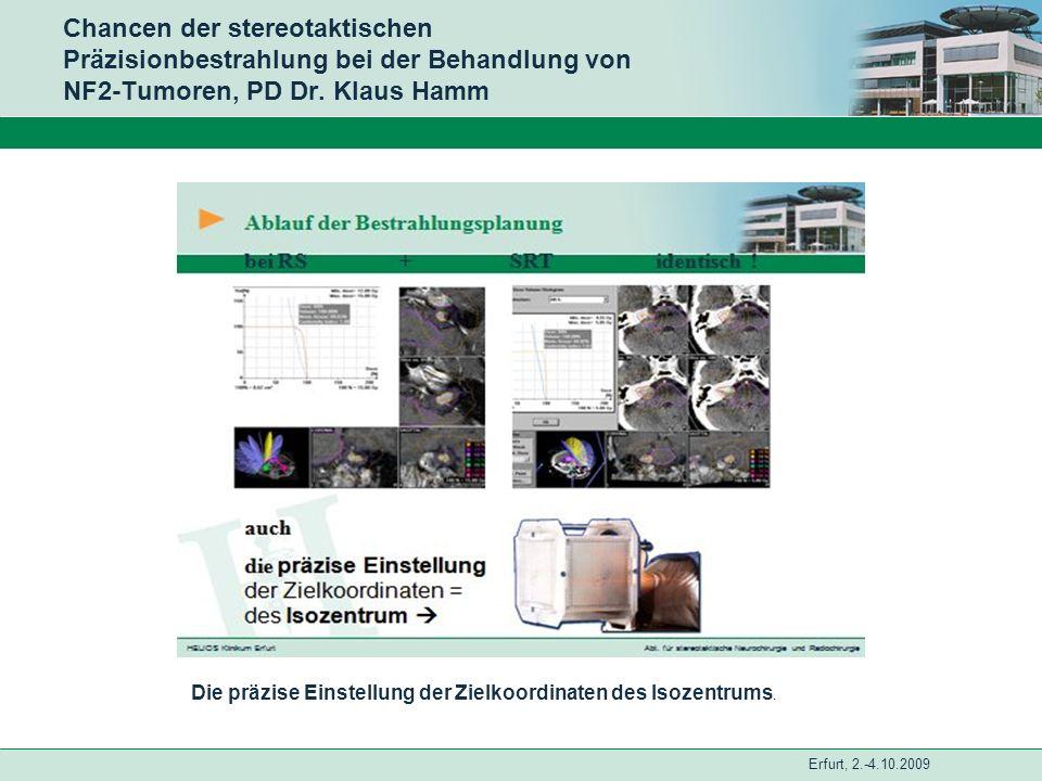 Erfurt, 2.-4.10.2009 Chancen der stereotaktischen Präzisionbestrahlung bei der Behandlung von NF2-Tumoren, PD Dr. Klaus Hamm Die präzise Einstellung d