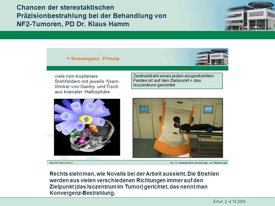 Erfurt, 2.-4.10.2009 Chancen der stereotaktischen Präzisionbestrahlung bei der Behandlung von NF2-Tumoren, PD Dr. Klaus Hamm Rechts sieht man, wie Nov