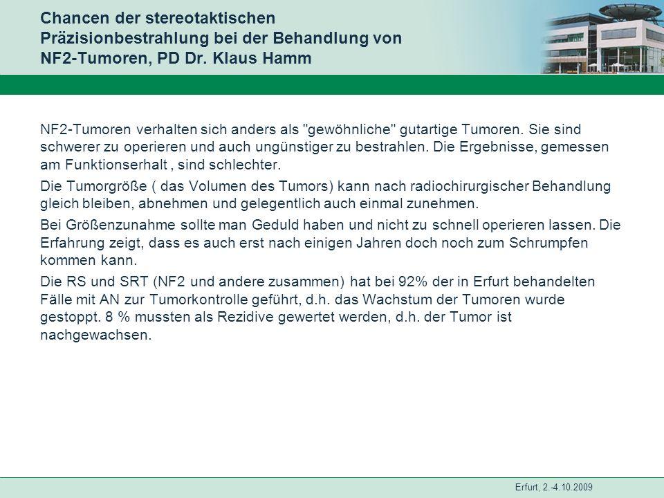 Erfurt, 2.-4.10.2009 Chancen der stereotaktischen Präzisionbestrahlung bei der Behandlung von NF2-Tumoren, PD Dr. Klaus Hamm NF2-Tumoren verhalten sic