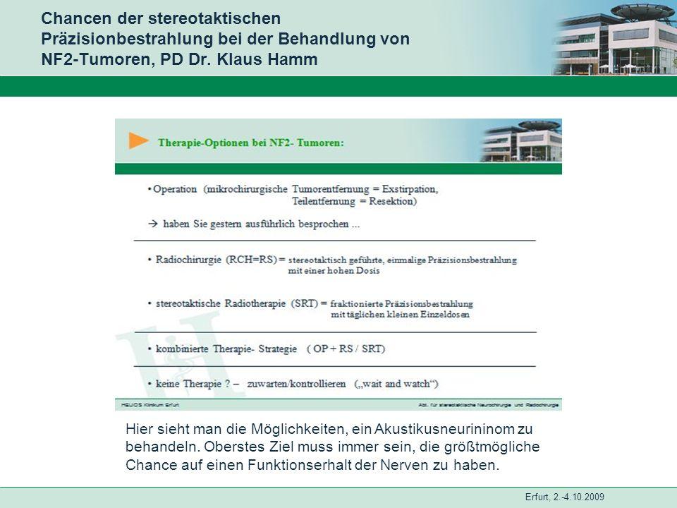 Erfurt, 2.-4.10.2009 Chancen der stereotaktischen Präzisionbestrahlung bei der Behandlung von NF2-Tumoren, PD Dr. Klaus Hamm Hier sieht man die Möglic
