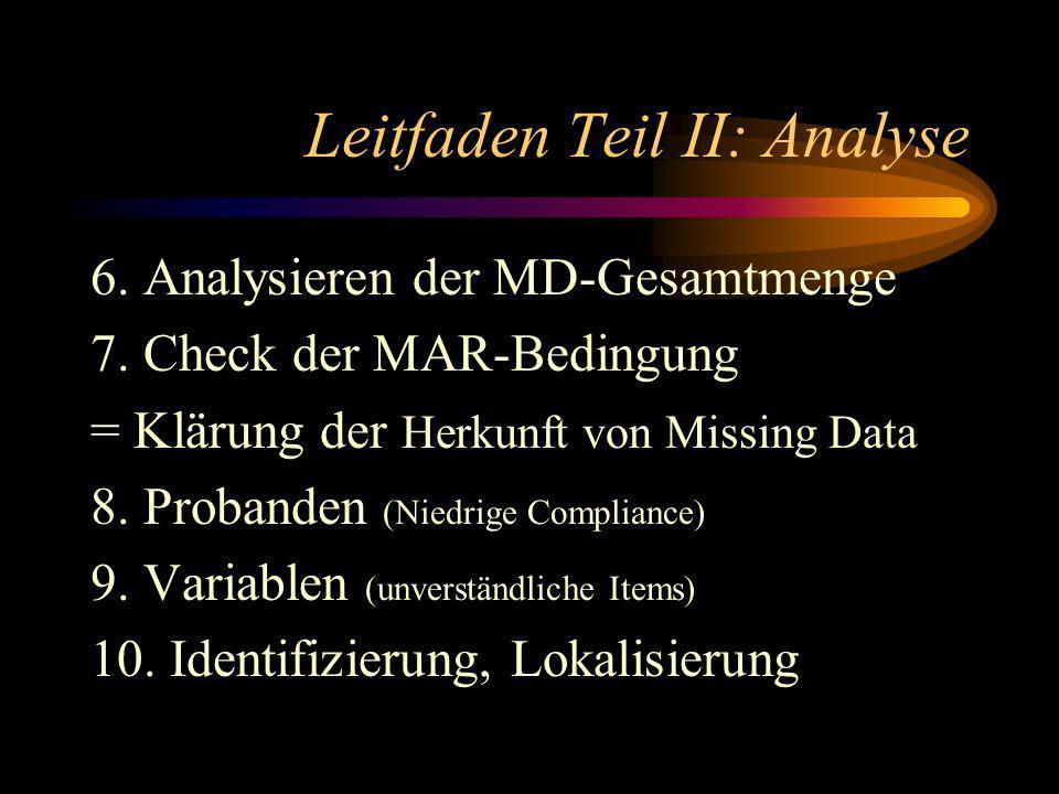 Leitfaden Teil II: Analyse 6. Analysieren der MD-Gesamtmenge 7.