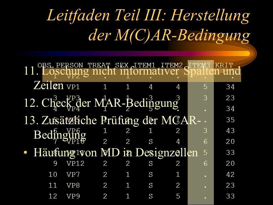 Leitfaden Teil III: Herstellung der M(C)AR-Bedingung 11.