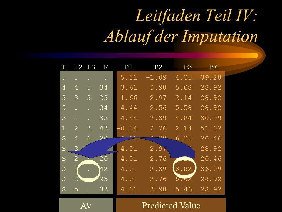 Leitfaden Teil IV: Ablauf der Imputation I1 I2 I3 K P1 P2 P3 PK....