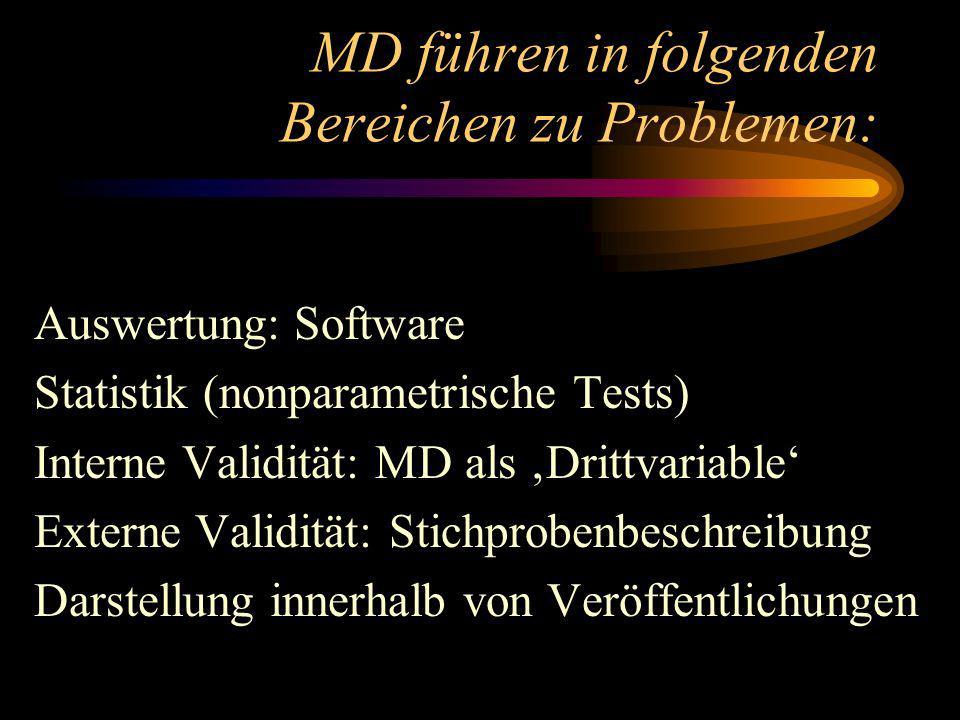 MD führen in folgenden Bereichen zu Problemen: Auswertung: Software Statistik (nonparametrische Tests) Interne Validität: MD als Drittvariable Externe Validität: Stichprobenbeschreibung Darstellung innerhalb von Veröffentlichungen